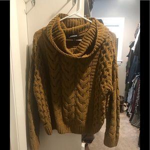 Mustard yellow cowl neck sweater